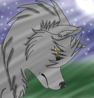 wolf with moon by kevinskylet111999