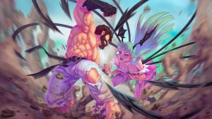 Ryu vs Morrigan by kajinman