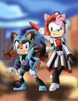 Red Amy and Blurricks by sonicgirl313