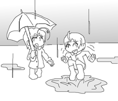 Chibis in raincoats by the-Rose-of-Blue