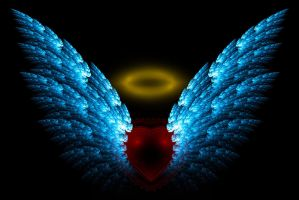 Angel Wings  Halo  And Heart Fractal by rabbit2373Angel Wings Heart Halo
