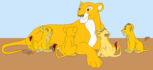 Sunspote with her adopted cubs by whitetigerdelight