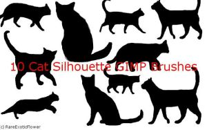 Cat Silhouette GIMP brushes by RareExoticFlower