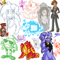 Oodles of doodles by PhantomCat