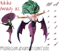 Yukiko Amagi as Morrigan Aensland: SPRITE RE-COLOR by PPGDBlossom