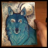 Blue Metallic Wolf Portrait (Original on EBay) by Sabtastic