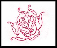 Swirly Rose Tattoo Design by PurrpleCatt