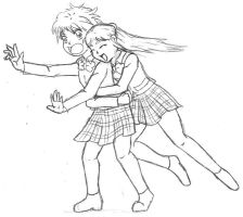 Honoka Tackle Hug by katriel