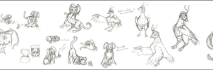 Time Cat and Tiem Chicken Sketch Collage by aquabluejay