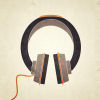 PosterVine Headphones Modern Hipster Poster by PosterVine