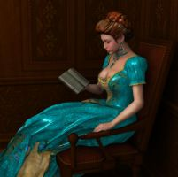 Young Woman Reading by twosheds1