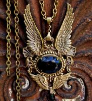 Gothic Angel Wings Brass Pendant by LeBoudoirNoir