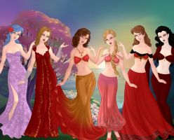 Alessa and her friends as goddesses by tmpoole96
