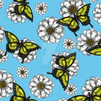 Daisys with Butterflies by Janelle-Dimmett