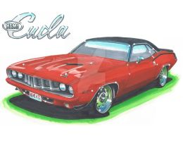 1971 Plymouth Hemicuda by Classic-Art-by-JP