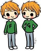 Fred and George Weasley by lemonpie-art
