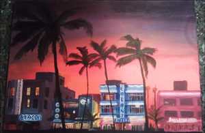 Miami South Beach Acrylic WIP by Terraced-Fields