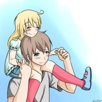Blond hair girl on shoulders by Zearth95