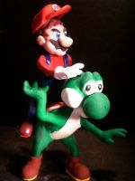 Mario and Yoshi with hat by silverleofirius