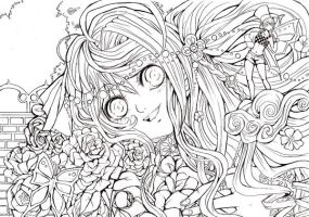 My lovley peony LINEART by ElfenCeres