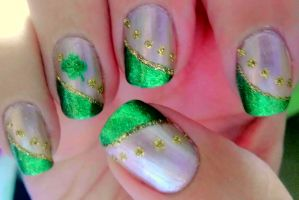 Shamrock Nail Art by wolfgirl4716