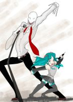 Slender and Miku by CerasinnE