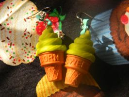 Ice Cream Cone Earrings by denimcraze