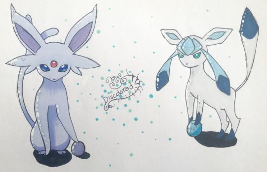 Espeon  Glaceon by MichelaBleh