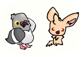 Pidove and minccino by Kat-The-Piplup
