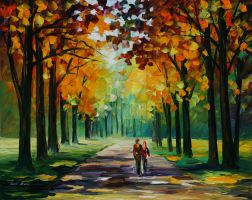 Sunny autumn by Leonid Afremov by Leonidafremov