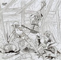 Orcs and drow combat by Shabazik
