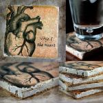 The Heart Drink Coasters, tumbled Marble by NeverlandJewelry