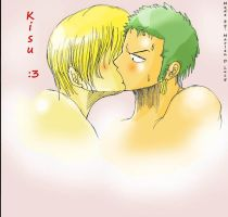 Zoro and Sanji Kisu by MarlenDLucy