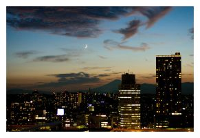 Sunset on Mt. Fuji with moon by RobVinc
