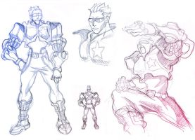 Captain Commando Sketches by ZEBES