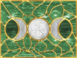 Triple Moon Stained Glass 2 by copperphoenix
