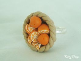 Orange basket ring by kittynara