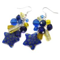 Blue and Yellow Star Earrings by fairy-cakes