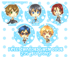 Free! Iwatobi Swim Club buttons by Nikufei
