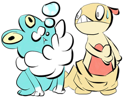 Froakie and Scraggy by SometimesCats