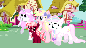 Three ponies and a filly move to Ponyville by SugarMoonPonyArtist