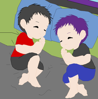 Baby Twins Mika and Kotomi by angelofcryinghearts