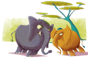 Angry elephants by basschel