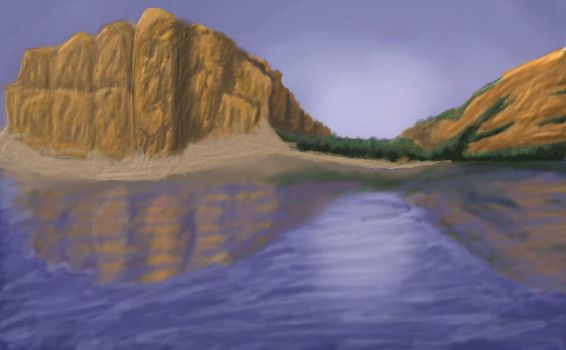 Cliffs by the Lake by JLai