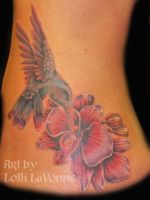 Humming bird and orchid by lavonne