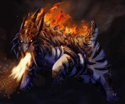 Staalpard Fire/Steel Starter fakemon final by XantheUnwinArt