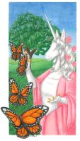 Unicorn With Monarchs by hollyann