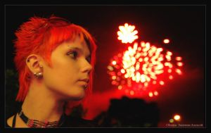 Red firework by Elisanth