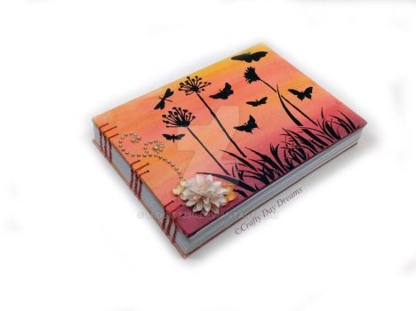 Sunset butterflies painted canvas book by Midgit2230