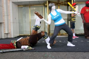 Wii Fit Trainer Throwing Ganondorf by LeapingLizardCosplay